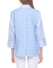 Load image into Gallery viewer, Aileen 3/4 Sleeve Blue/White Mixed Pattern Top