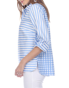 Aileen 3/4 Sleeve Blue/White Mixed Pattern Top