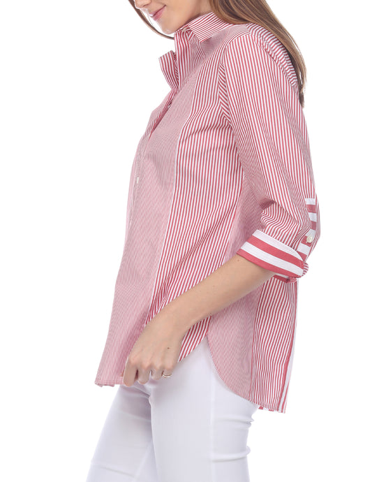 Margot 3/4 Sleeve Red/White Mixed Stripe Shirt