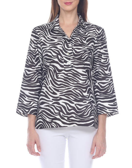 Aileen 3/4 Sleeve Luxe Linen Zebra Print Button Back Top