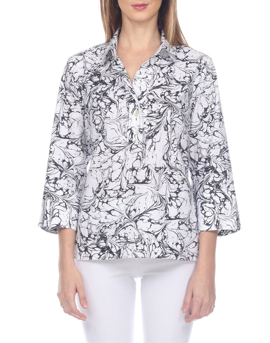 Aileen 3/4 Sleeve Marble Printed Back Button Top