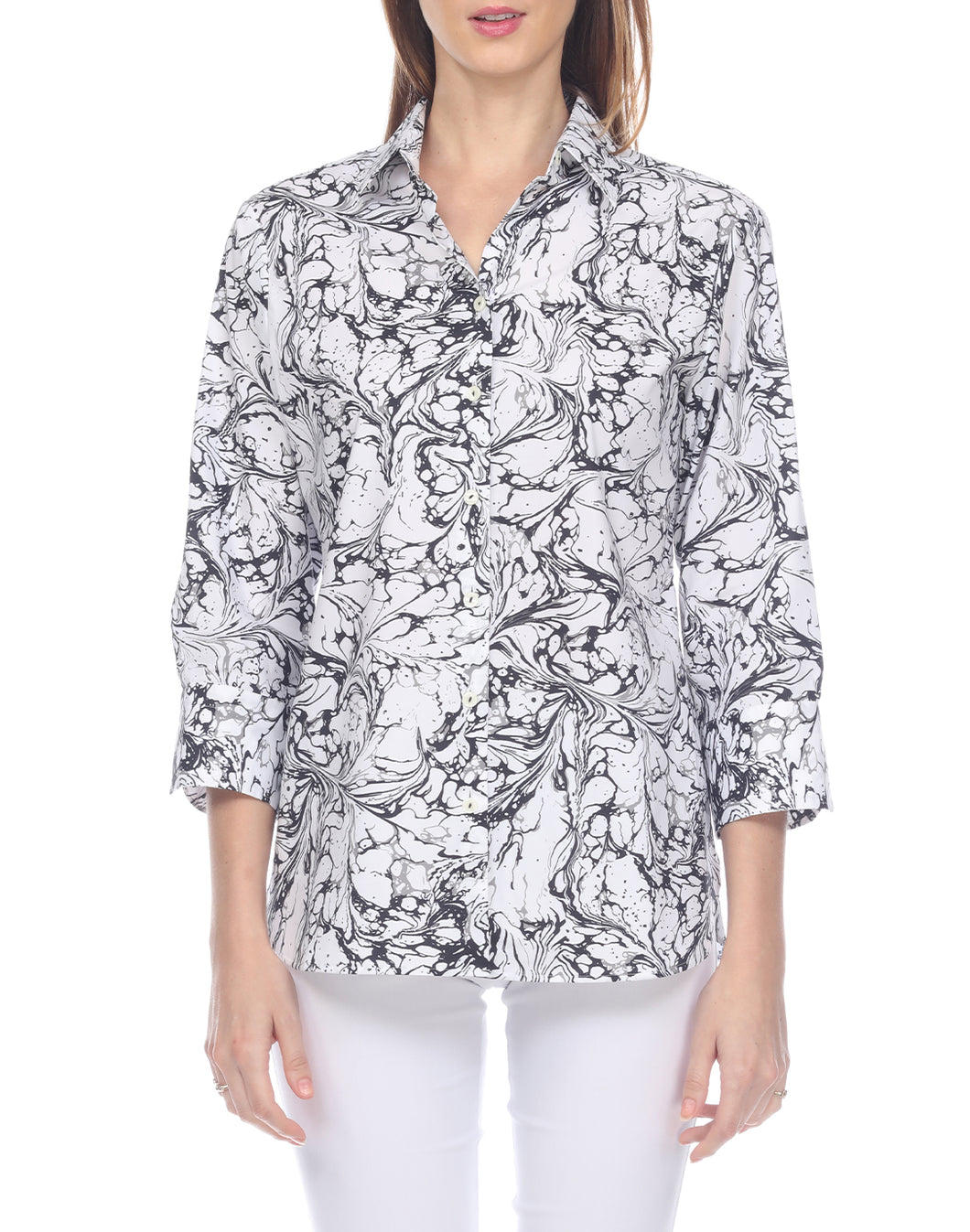 Margot 3/4 Sleeve Marble Printed Shirt