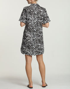 Aileen Short Sleeve Luxe Linen Zebra-Print Dress