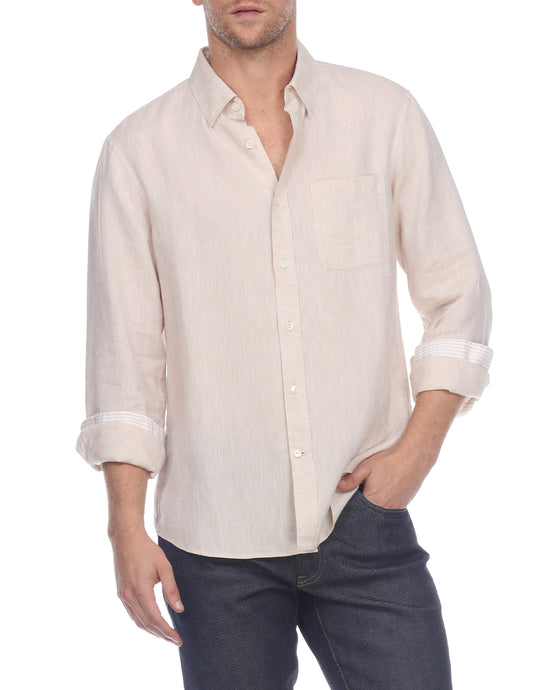 Hampton Men's Long Sleeve Luxe Linen Shirt In Flax