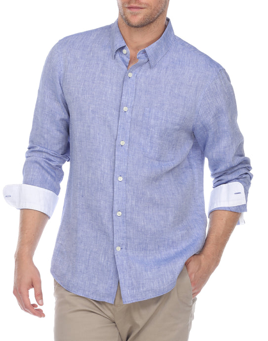 Hampton Men's Long Sleeve Luxe Linen Shirt In Indigo