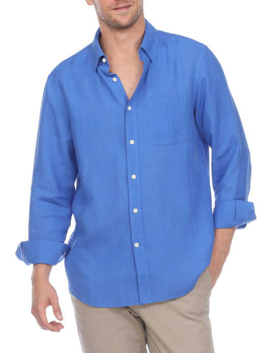 Hampton Men's Long Sleeve Luxe Linen Shirt In Lapis