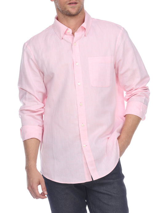 Hampton Men's Long Sleeve Luxe Linen Shirt In Soft Pink