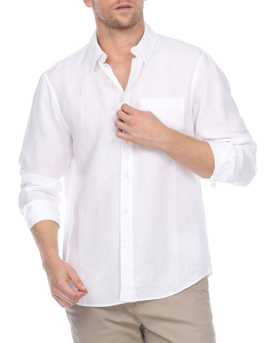 Hampton Men's Long Sleeve Luxe Linen Shirt In White