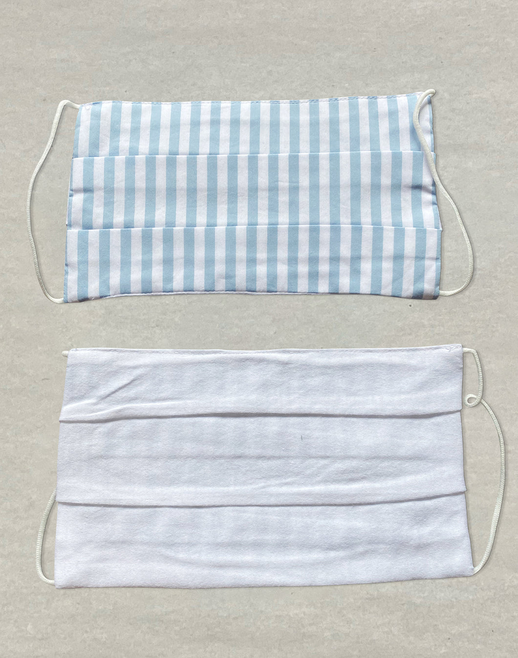 Rectangular Blue/White Stripe Cloth Masks -  Pack of 3