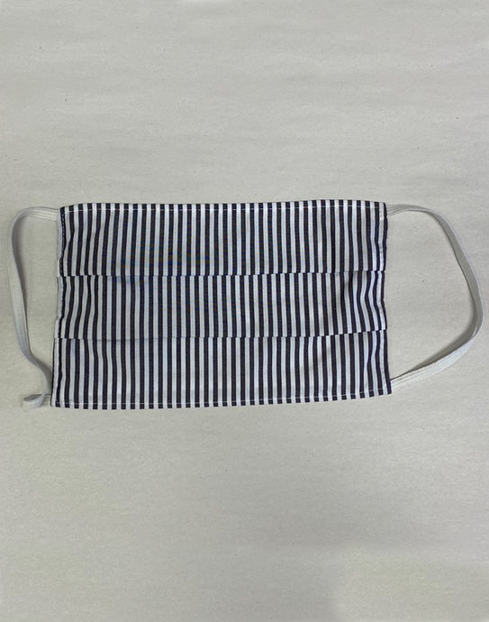 Rectangular Black/White Stripe Cloth Masks -  Pack of 3