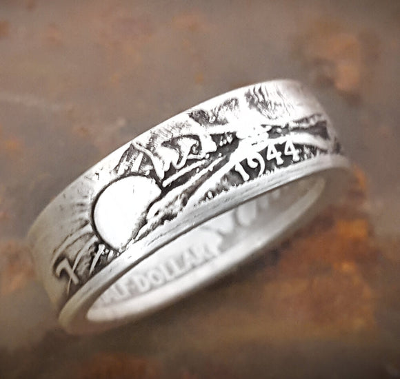 Walking Liberty Half Dollar Coin Ring 90% Silver. Birthday Gift, Wedding Anniversary