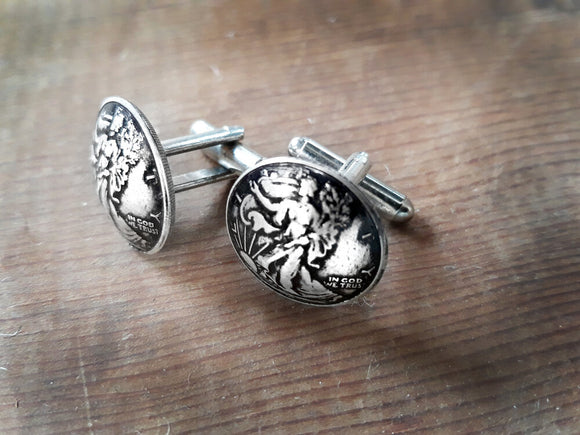 Walking Liberty Silver Cufflinks 1/10 .999 pure silver