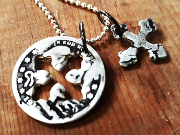 Antique Quarter Charm Necklace with Cross Shape Cutout