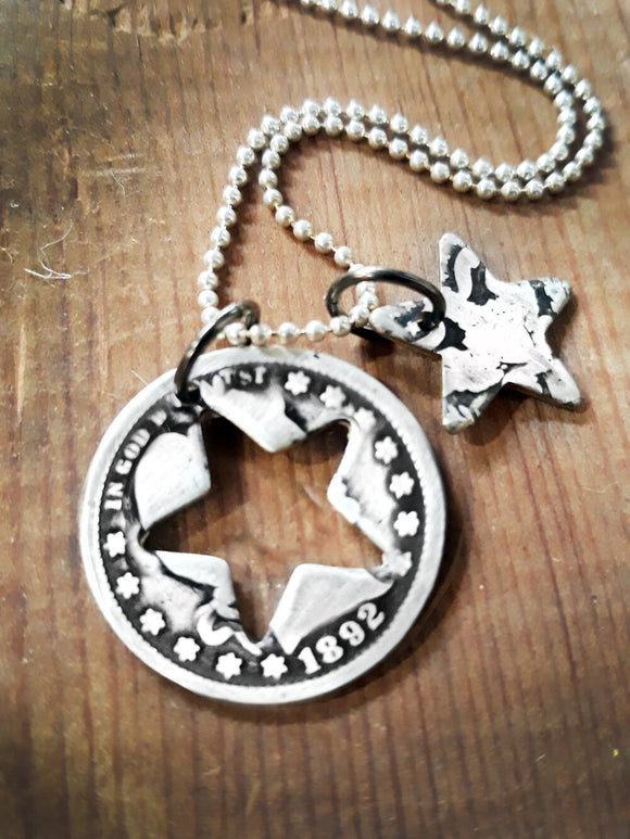 Antique silver barber quarter star necklace