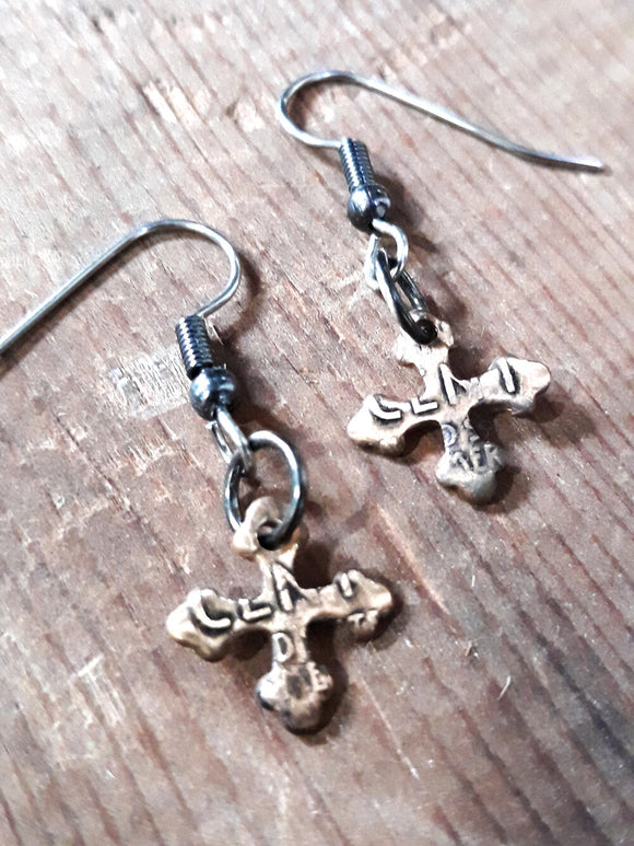 Wheat Penny Cross Earrings