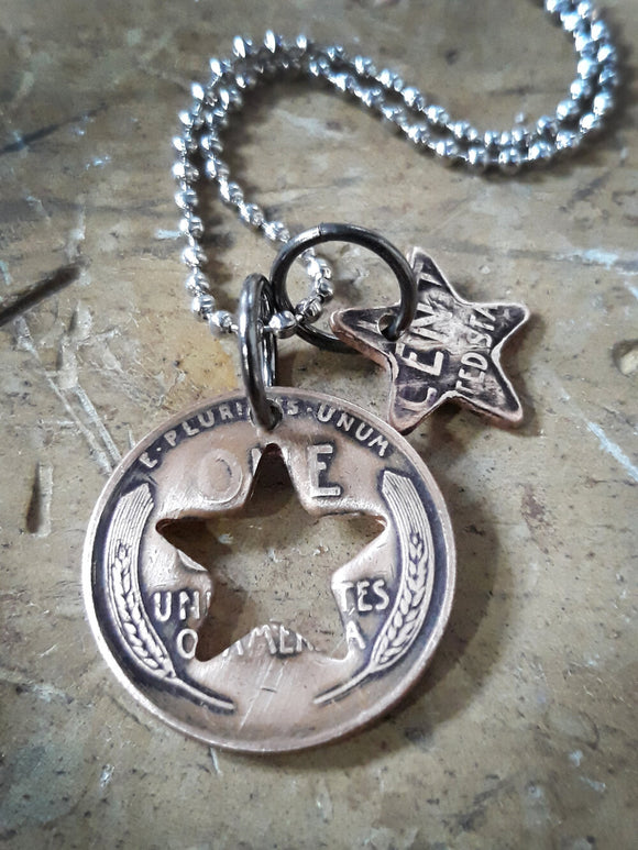 Antique Wheat Penny Star Charm Necklace