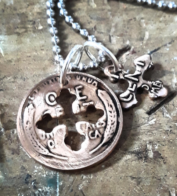 Antique Wheat Penny Cross Charm Necklace