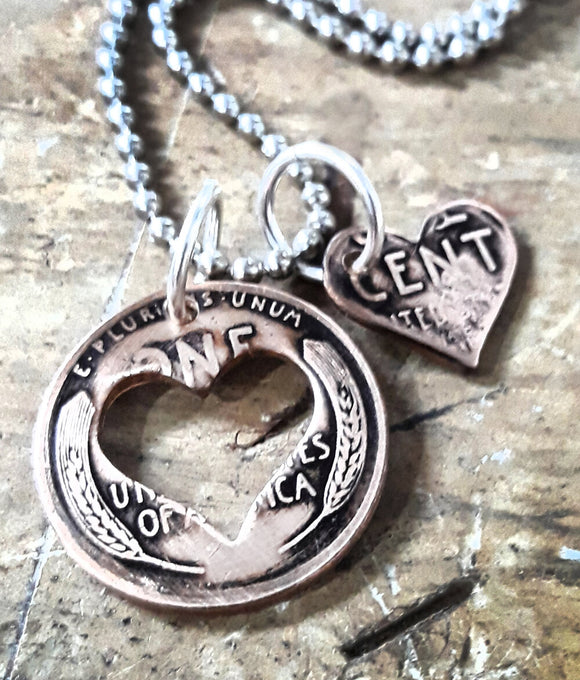 Antique Wheat Penny Heart Charm Necklace