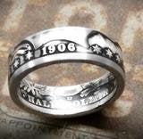 Antique silver Barber half dollar coin ring