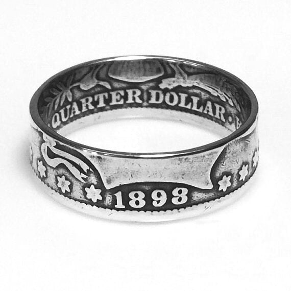 Antique Silver Quarter Coin Ring