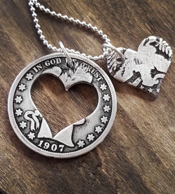 Antique silver barber quarter heart necklace
