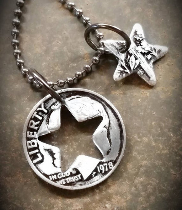 Dime Charm Necklace with Star Shape Cutout