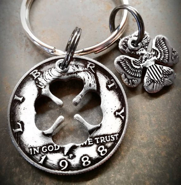 Half Dollar Charm Keychain with Clover Shape Cutout