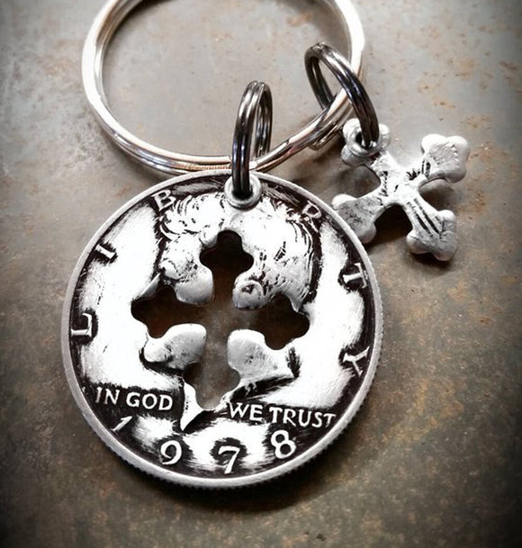Half Dollar Charm Key chain with Cross Shape Cutout