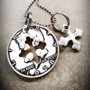 Half Dollar Charm Necklace with Cross Shape Cutout