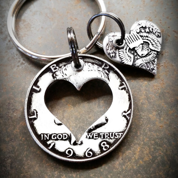 Half Dollar Charm Keychain with Heart Shape Cutout