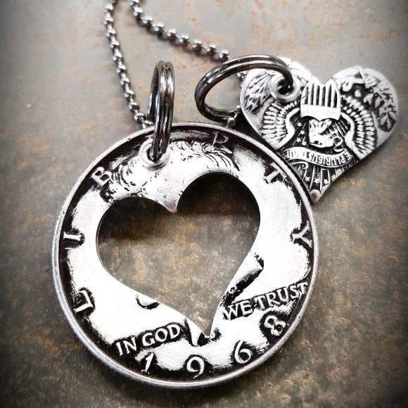 Half Dollar Charm Necklace with Heart Shape Cutout