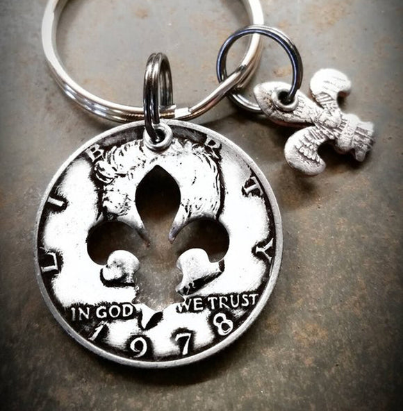 Half Dollar Coin Charm Key Chain with Fleur de lis Shape Cutout