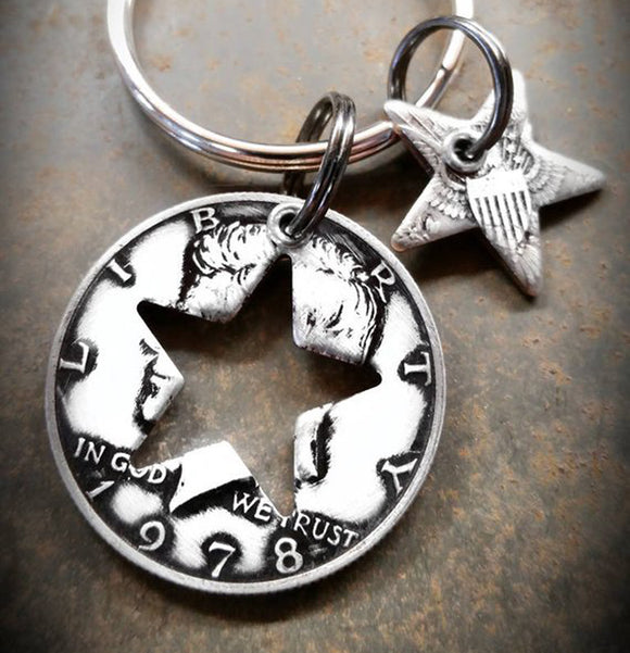 Half Dollar Charm Keychain with Star Shape Cutout