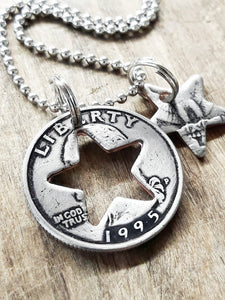 Quarter Charm Necklace with a Star Shape Cutout