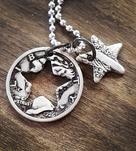 Antique silver dime star charm necklace