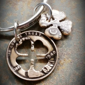 Penny Charm Keychain with Clover Shape Cutout