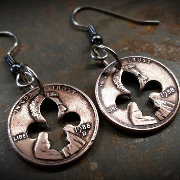 Penny Earrings with Fleur de lis Cutout
