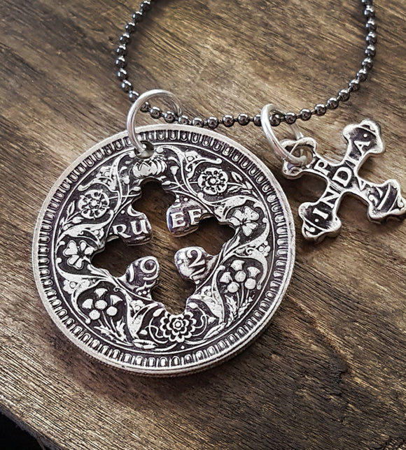 Silver indian rupee cross necklace
