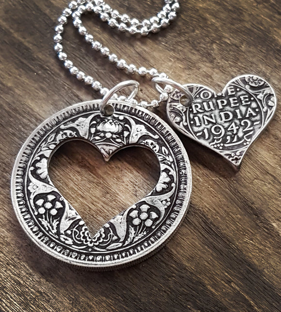 Indian silver rupee heart necklace
