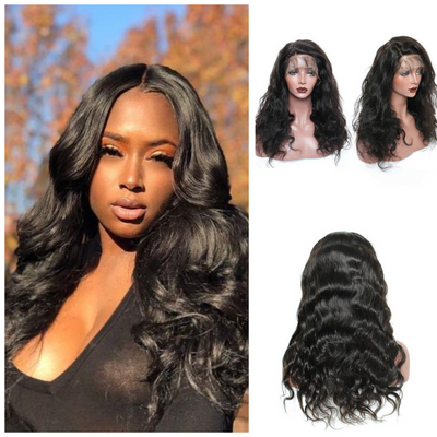 Usatr Full Lace Wig 150% Density Body Wave Virgin Remy Human Hair Natural Black