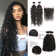 Ustar Natural Black Virgin Natural Wave  Hair 2 Bundles with  Frontal