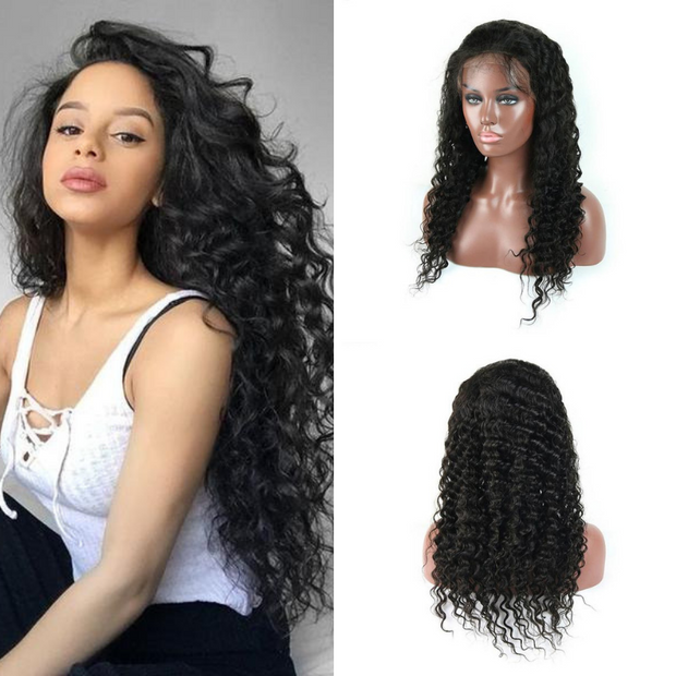 Usatr Full Lace Wig 150% Density Deep Wave Virgin Remy Hman Hair Natural Black