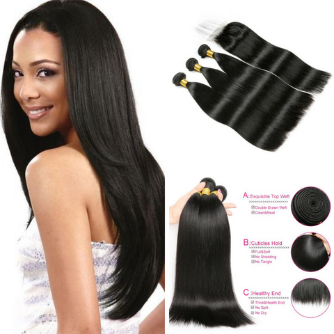 Ustar Natural Black Brazilian Virgin Human Hair Straight 3 Bundles with 4x4 Lace Closure