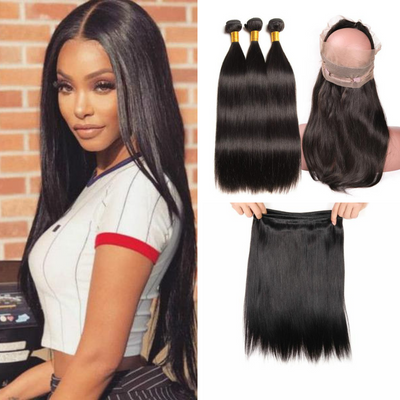 Ustar Natural Black Virgin Brazilian Straight Hair 3 Bundles with 360 Lace Frontal