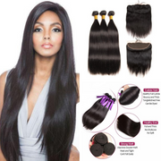 Ustar Natural Black Virgin Straight Hair 3 Bundles with Frontal