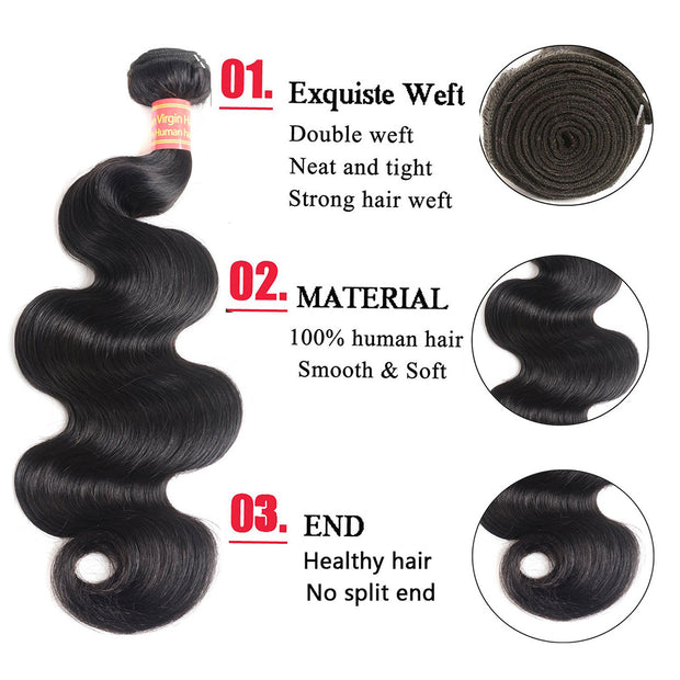 Ustar 100% UNPROCESSED Virgin Hair Bundles Natural Color Body Wave 8 inch to 30 inch