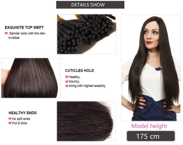 Ustar 100% Human Hair Quality I Tip Straight Hair Extensions #1B