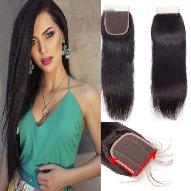 Straight Lace Closure 5x5 Lace Closre Brazilian Virgin Human Hair Free Part Natural Color Closure (10-22 inch, Straight Lace Closure)