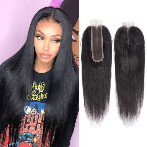 Straight Lace Closure 2x6 Lace Closre Brazilian Virgin Human Hair Free Part Natural Color Closure (10-22 inch, Straight Lace Closure)