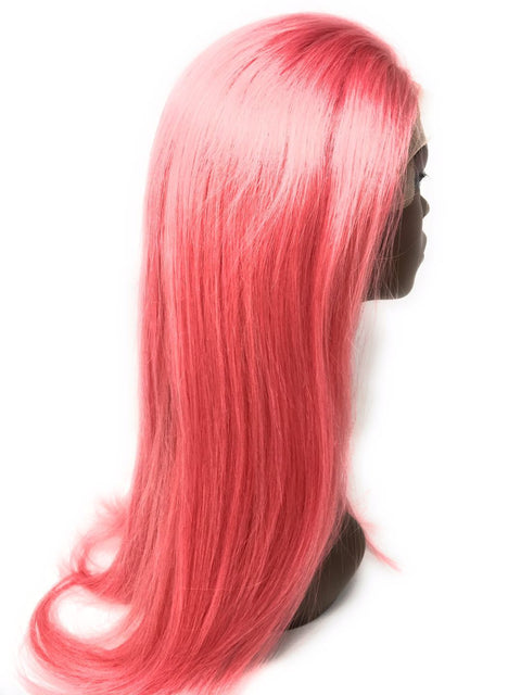 Ustar Lace Frontal Wig Hot Pink color, 150% Density Straight Hair